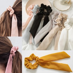 Fashion-trendy-New-solid-Hair-Ribbons-Ponytail-Elastic-Hair-Rope-for-Women-Hair-ties-summer-sport
